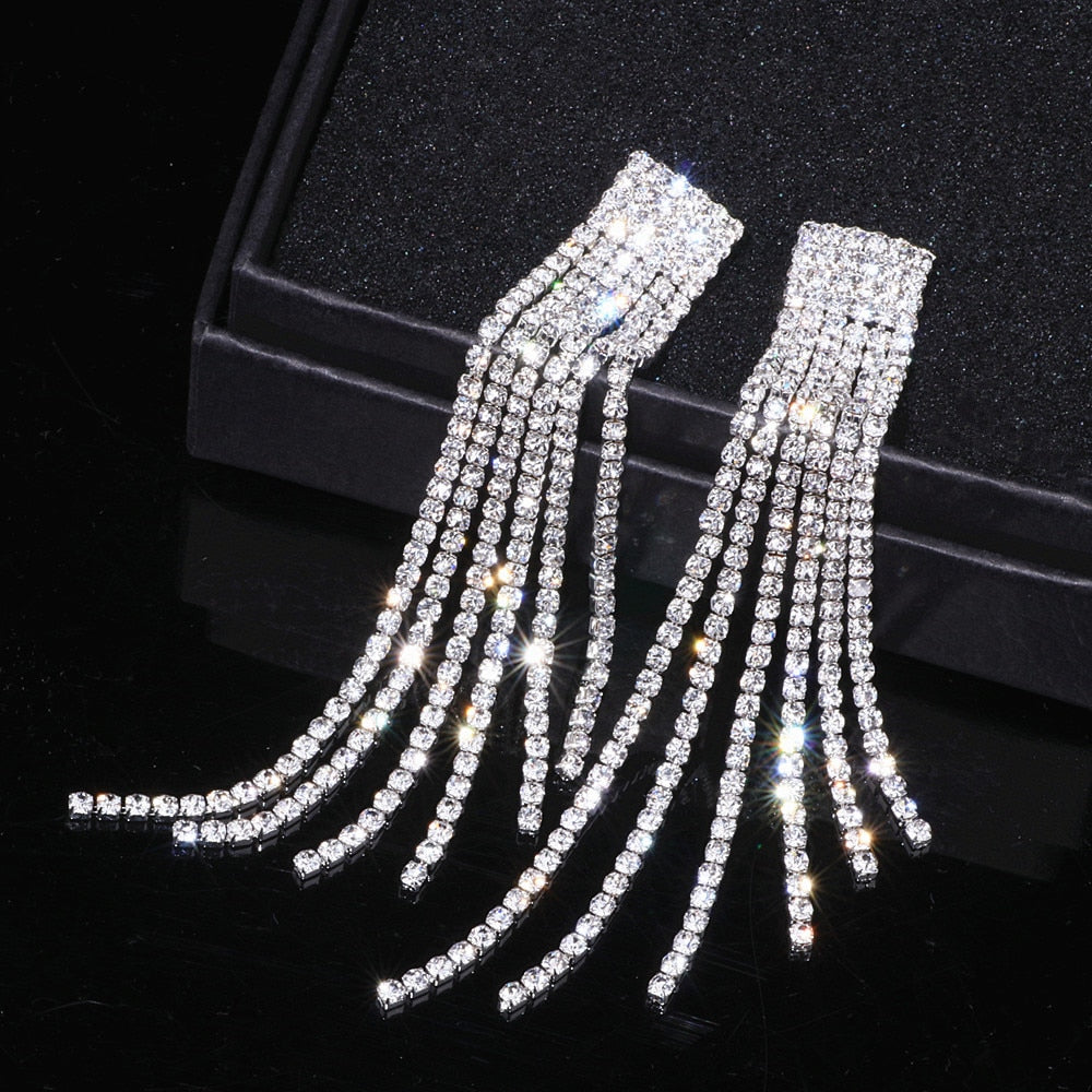 Silver Rhinestone Crystal Long Tassel Earrings Bridal Drop Dangling Earrings