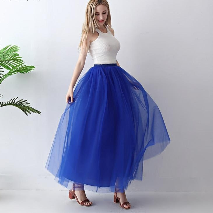 4 Layer Maxi Ankle Length Organza  Bridesmaid Wedding Skirt One Size