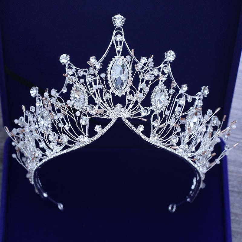 Gorgeous Wedding Bridal Headdress European Crystal Large Crown Handmade Rhinestone Bride Tiaras Women Silver Crowns