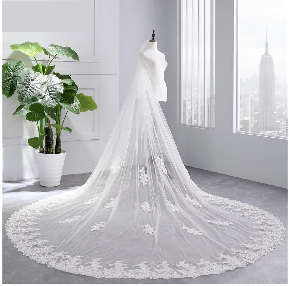 White Ivory Cathedral Wedding Veils Long Lace Edge Bridal Veil with Comb Wedding Accessories Bride Veil - TulleLux Bridal Crowns &  Accessories