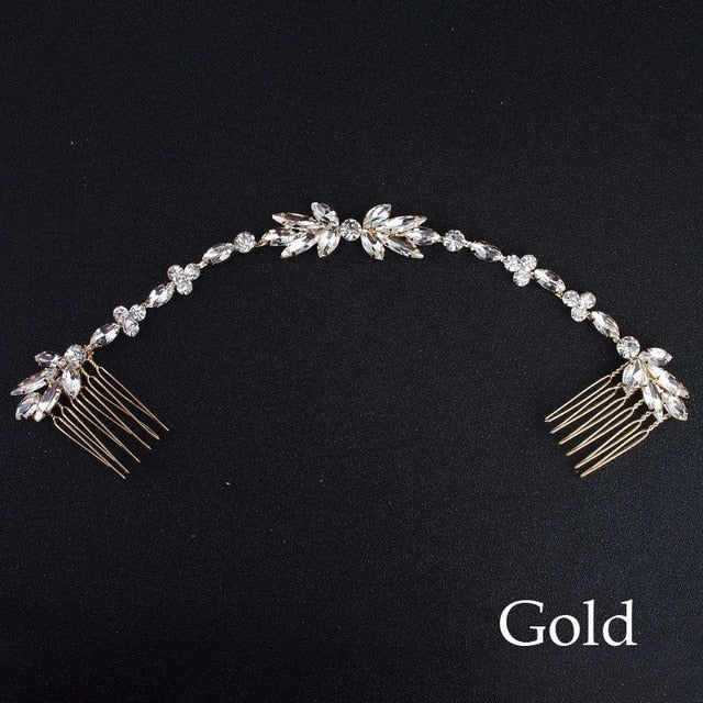 Wedding  Rhinestone Headband Bridal Chain Comb  Hair Jewelry Accessories Boho Chic