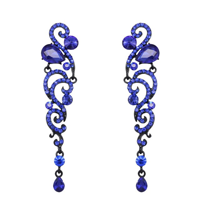 7 Colors Luxury Crystal Wedding Long Earrings for Bridesmaids