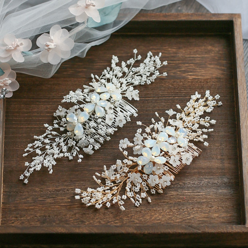 Gold Silver Floral Hair Comb  Tiny Beaded Wedding Hair Accessories Hand wired Bridal