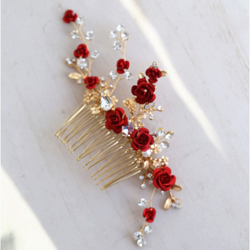 Red Rose Floral Headpiece Rhinestone Bridal Hair Comb Accessories
