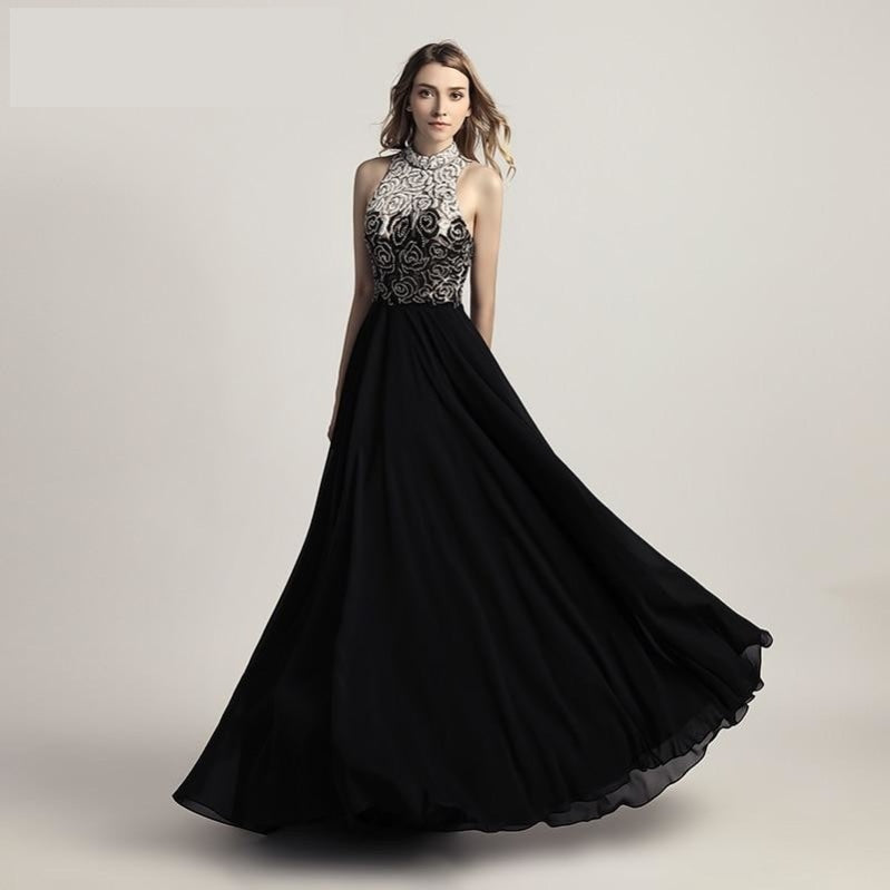Chiffon Black Pageant Prom Dress with Top Beading High Neck Gown