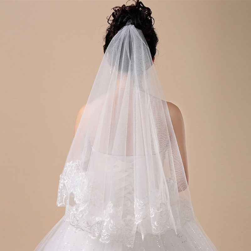 Flower Edge Applique Lace Bridal Veil