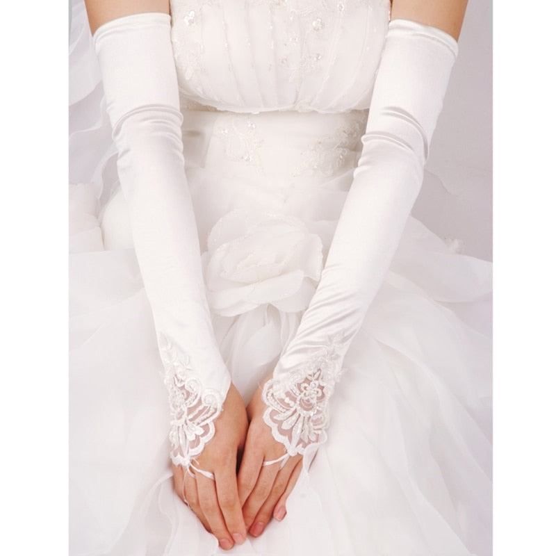 Long Gloves Fingerless Embroidery Lace Trim Beaded Sequins