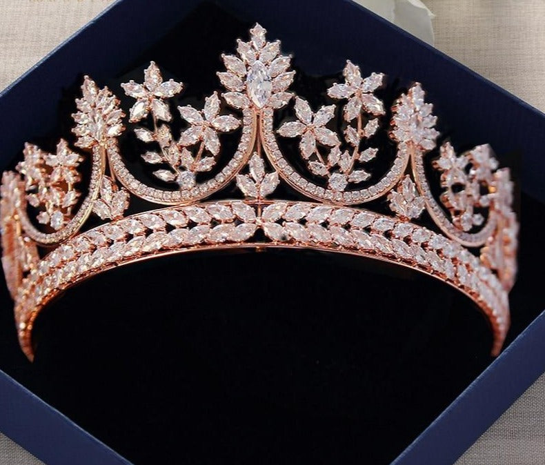High-end Royal Crystal Rose Gold Tiaras Crown Brides Hair Accessory