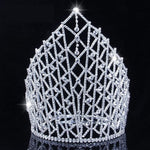 "Royal Brides 9"" Tiara Bridal Wedding Crowns W/ Hair Combs Clear Rhinestone Crystal Silver Headband Beauty Pageant Prom Jewelry"