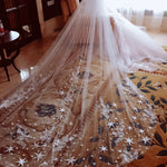 Luxury  Full Edge with Star Lace Bling Sequins Long Wedding Veil with Comb