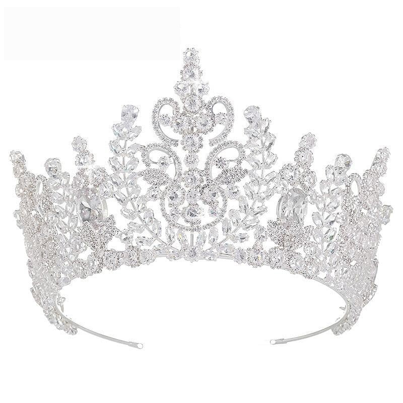 Romantic Detailed Cubic Zirconia Tiara in Silver or Gold