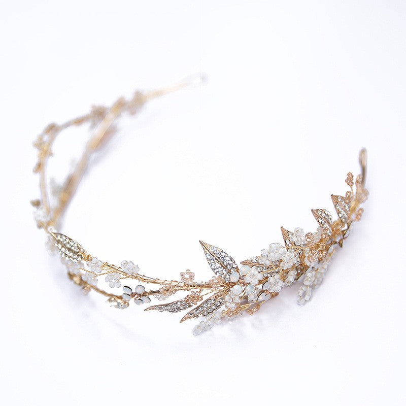 Delicate Hand wired Gold Leaf Crown Wedding Hair Tiara Accessory Floral Headpiece Bridal Hairband
