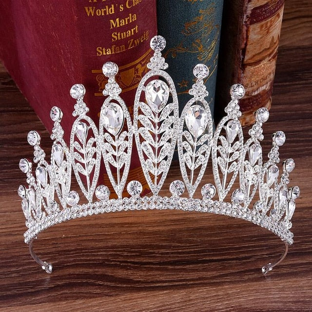 Baroque Gold Silver Leaves Crystal Rhinestones Wedding Crown  Queen Tiaras Bridal Hair Accessories