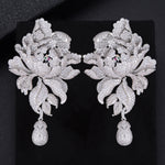 Luxury Peony Flower Blossom Cubic Zirconia Long Drop Wedding Bridal Earrings