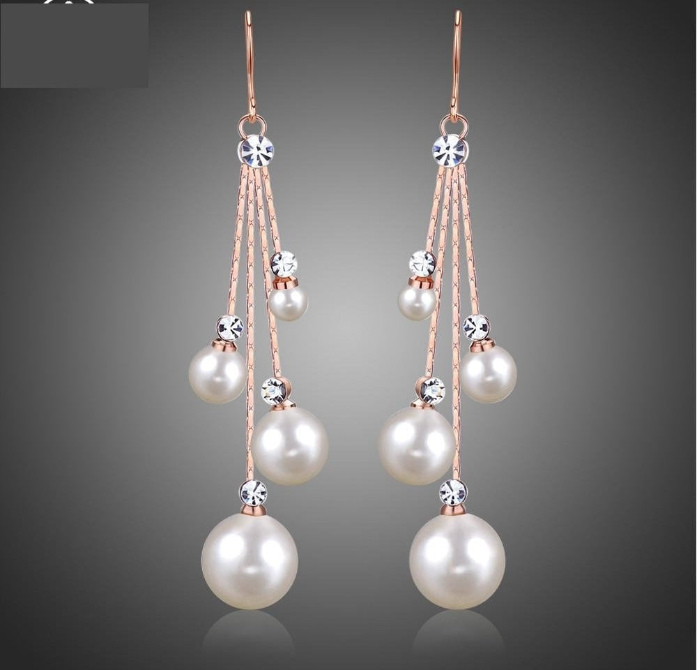 Crystal Simulated Pearl Four Chain Bridal Long Dangle  Earrings