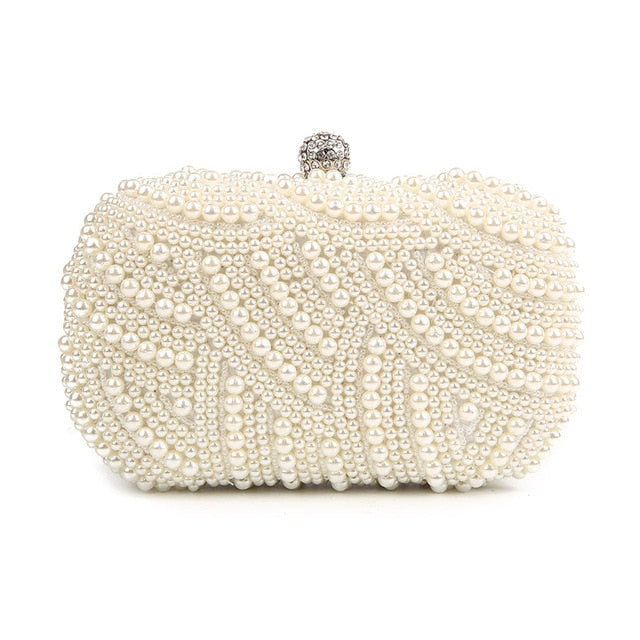 Hand Made Luxury Pearl Clutch Bag Diamond Chain for Party Wedding