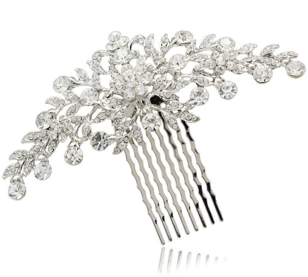 Clear Rhinestone Crystals Wedding Bride Bridal Floral Hair Comb Head Pieces Accessories