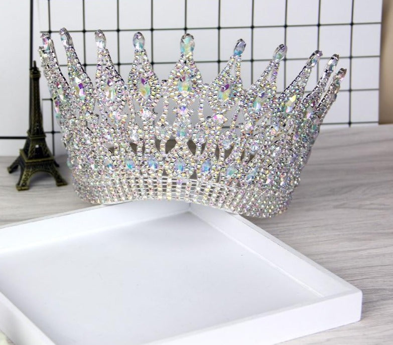 Luxury Big European Large Round Crystal Pageant Wedding Crown