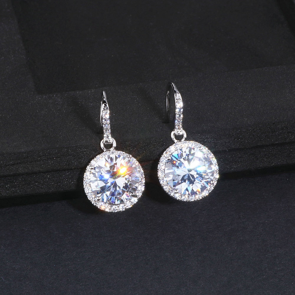 Elegant Classic Round Drop Crystal Earrings AAA+ Cubic Zirconia Bridal Wedding Brincos