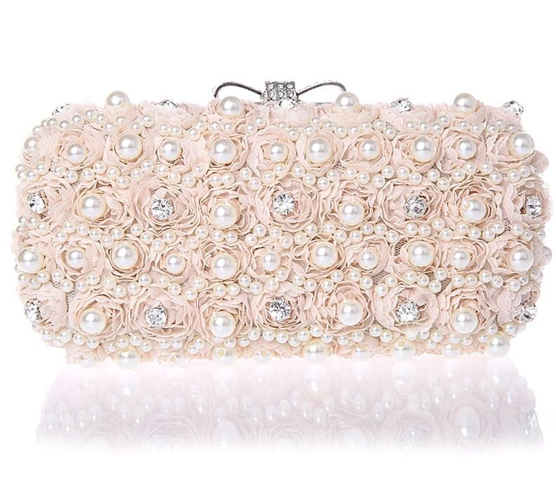 White Flower Evening Hand Bag Pearl Wedding Party Dressed Clutch Mini Purse - TulleLux Bridal Crowns &  Accessories