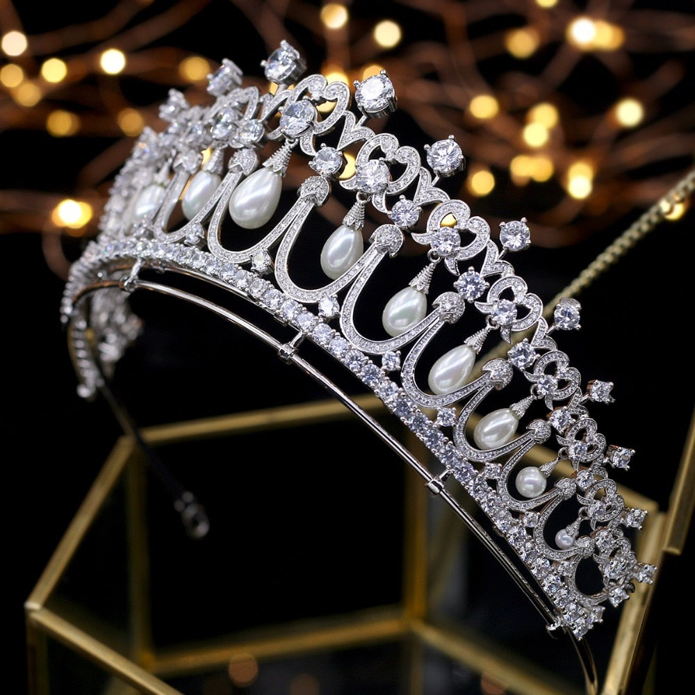 Crystals and Peals Cubic Zircon Tiaras de noiva Wedding Tiara Bridal Crown