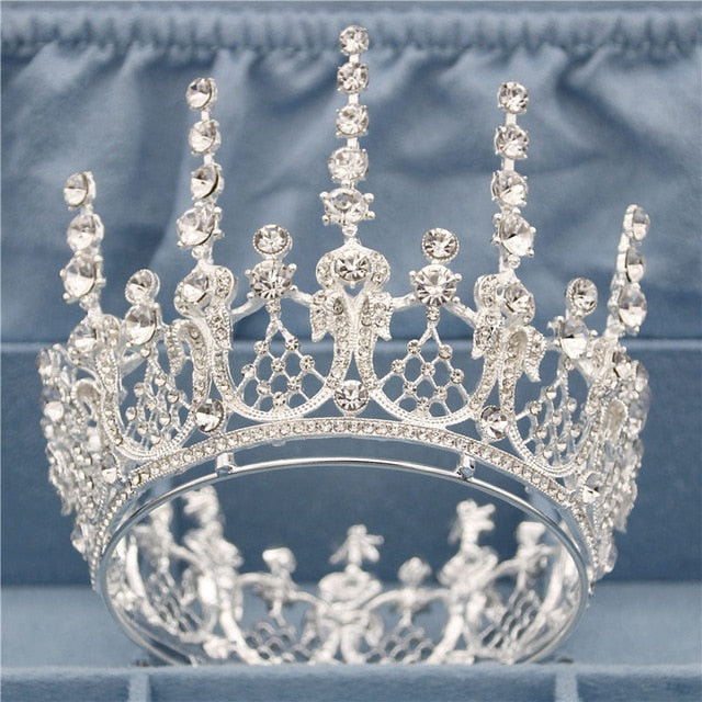 Gold Full Round Queen King Tiara Crown Pageant  Bridal Wedding