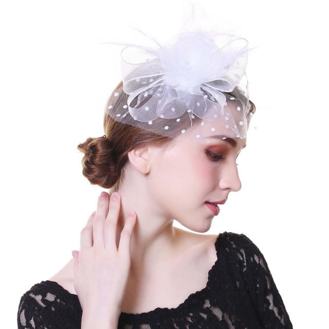Fascinator Hat Flower Mesh Ribbons Feathers Fedoras Cocktail Tea Party Hat