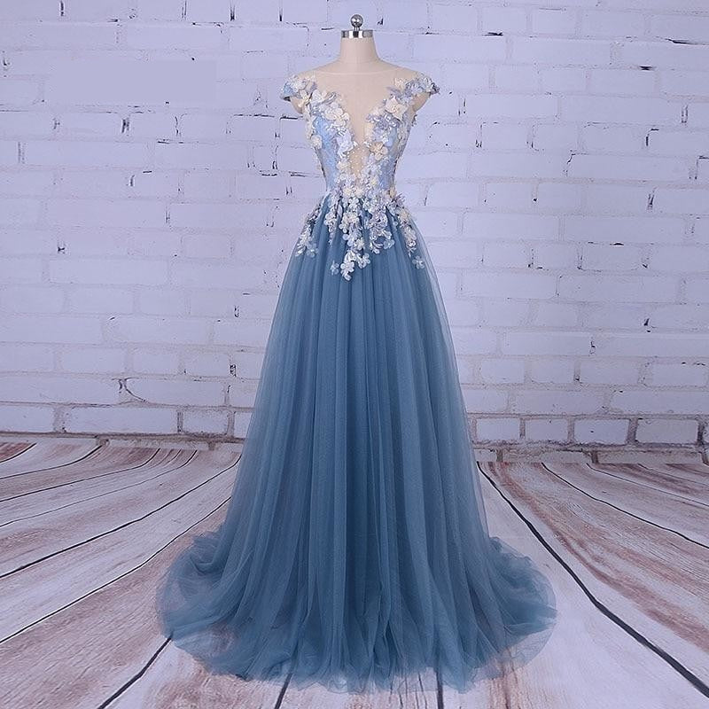 Party Evening Dress Scoop A-Line Decorated with Flower & Tulle