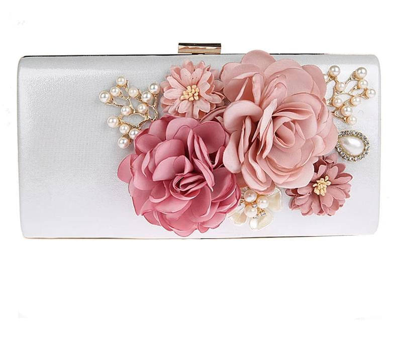 9 Color Styles Handmade Fabric Flowers Evening Bag Luxury Wedding Bride Clutch Bag Pearl  Handbag Mini Purse