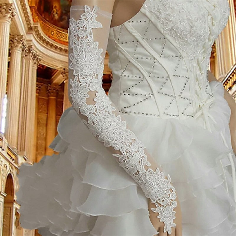 Lace Wedding Gloves Fingerless Opera Length Long Bridal  Wedding Accessories