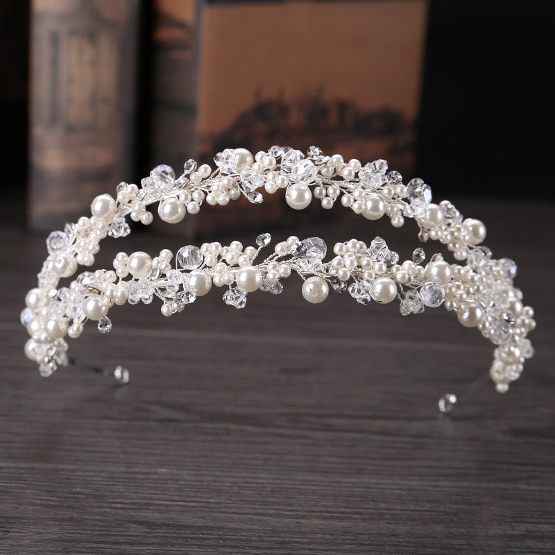 Double Row Pearl Crystal Beads Headbands Tiara Princess Bridal Wedding Crown Hair Jewelry