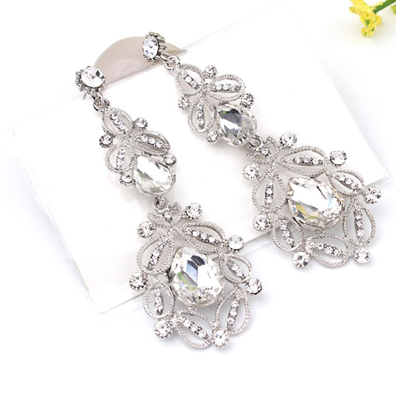 Long Crystal Drop Earrings Vintage  Colors Flower Earrings  Wedding