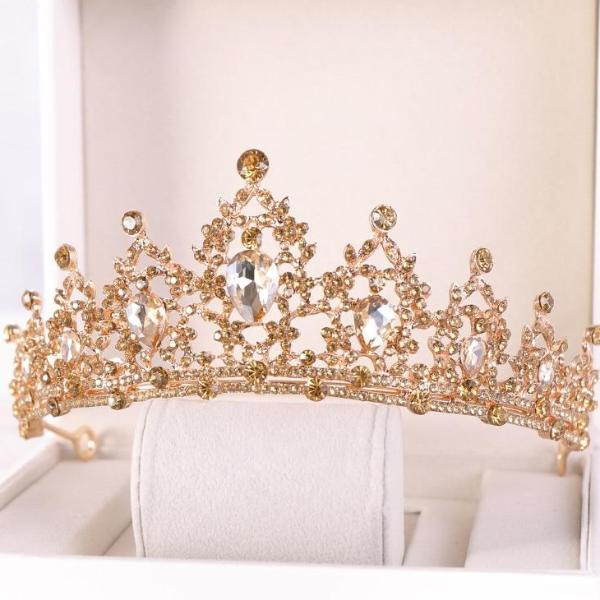 Gold Bridal Crown Crystal Wedding Hair Accessories Bridal Tiara Noble Gold Tiara Rhinestone Bridal Crown Wedding Headdress