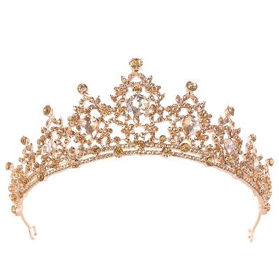 Gold Bridal Crown Crystal Wedding Hair Accessories Bridal Tiara Noble Gold Tiara Rhinestone Bridal Crown Wedding Headdress - TulleLux Bridal Crowns &  Accessories