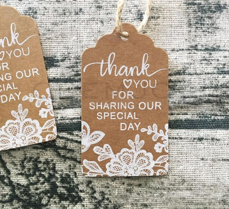 50 Pcs Thank You Gift Tags Rustic Lace Print Kraft Paper Tags Wedding Favor