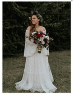 Lace A Line Vintage Princess  Flare Sleeves Country Bride Wedding Dress