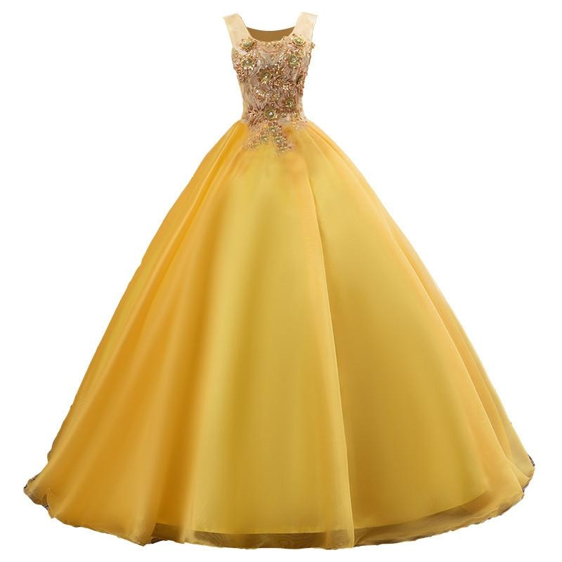 Quinceanera Dresses Illusion Ball Gown in Gold