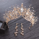 Baroque Style Crystal Crown Bridal Wedding Tiara Crown & Earrings