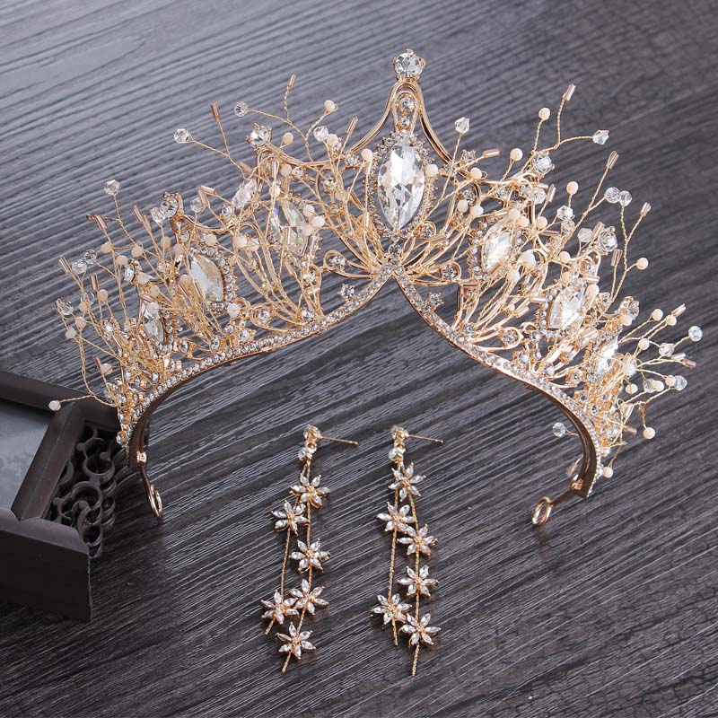 Baroque Crystal Gold Crown for Wedding Hair Accessories Gems Tiara Bride