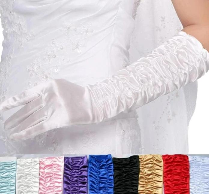Long Satin Elegant Pageant Party Gloves