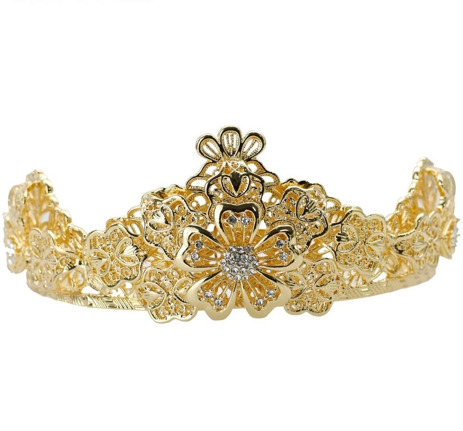 Gold Flower Small Tiaras For Bridal Wedding Crown Headband