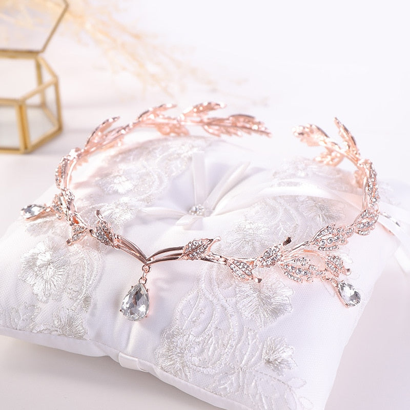 Rose Gold Crystal Crown Bridal Hair Accessory Wedding Rhinestone Teardrop Leaf Tiara  Frontlet Bride Hair Jewelry