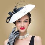 Fascinators Black And White  Straw Fedora Vintage