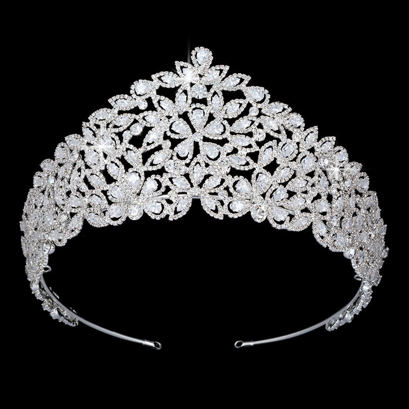 Trendy Princess Crown Lovely Leaves Headdress For Wedding Bridal Silver Accessories Jewelry