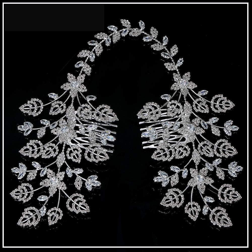 Sparkling Cubic Zirconia Leaf Design Double Bridal Hair Comb Wedding Accessory