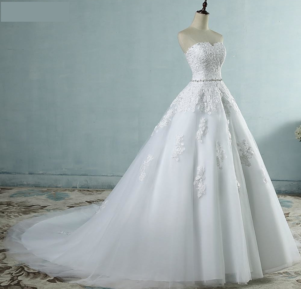 Lace Flower Sweetheart  Wedding Dress, + Sizes Available