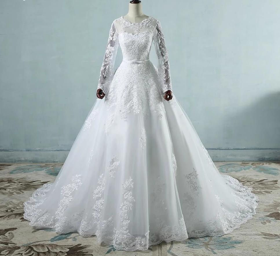 Long Sleeve Wedding Dress with Detailed Lace Appliques