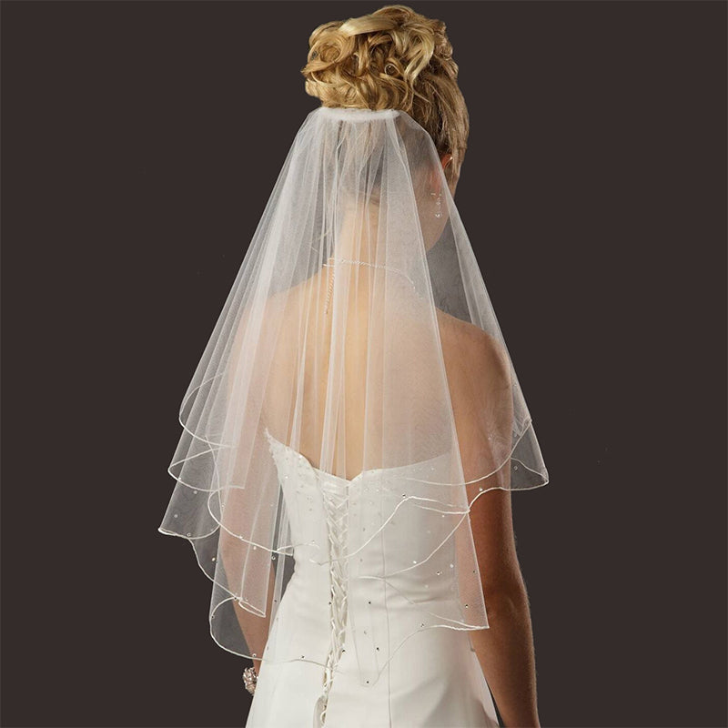 Bridal Wedding Veil White Ivory 2 Tier Short Elbow Length Pencil Edge