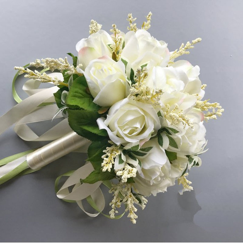 Wedding Bouquet for Brides Rose Flowers with Ribbon