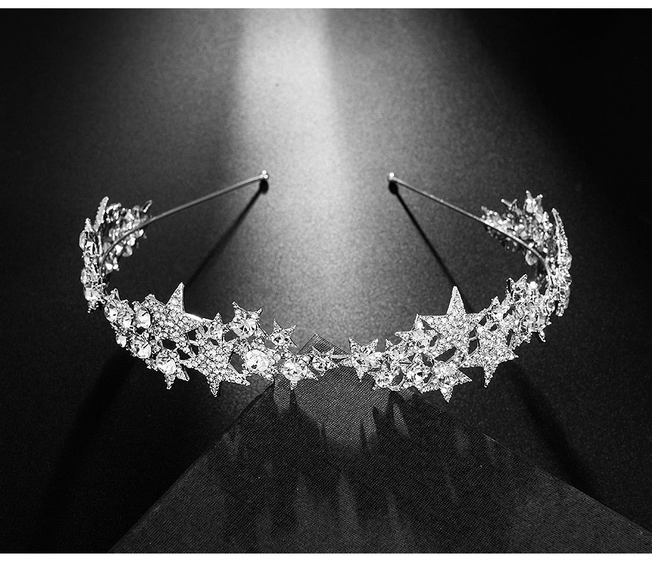 Wedding Star Crown Rhinestone Tiara Bridal Hair Accessories Wedding Head Piece